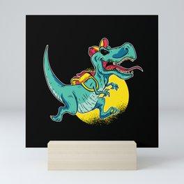 First Grader Dinosaur With Satchel Motif Mini Art Print