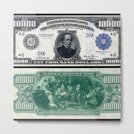 1918 $10,000 U.S. Federal Reserve Chase Bank Note Metal Print