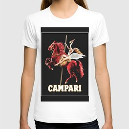 Vintage Campari Italian Bitters Woman and Red Horse Advertisement T-shirt
