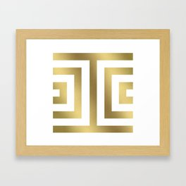 Gold Greek Stripes Framed Art Print