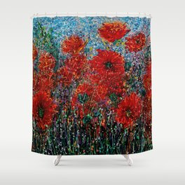Wild Grass and Poppies Pollock Inspiration Shower Curtain