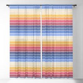 Rainbow Retro Stripes - red orange, yellow blue stripes, retro stripes Sheer Curtain