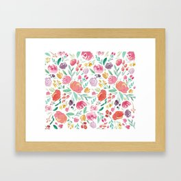 Peony Roses and Floral blooms Framed Art Print