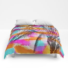 palm tree with colorful painting abstract background in pink orange blue Comforters