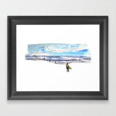 Surfing in California Framed Art Print