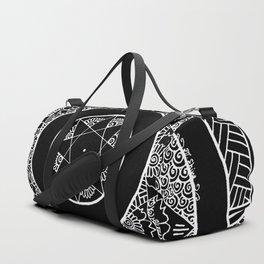 Flower Star Mandala - Black White Duffle Bag