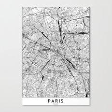 Paris White Map Canvas Print