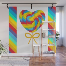 Valentine's Day Heart shaped candy lollipops with bow, colorful spiral candy cane with rainbow Wall Mural