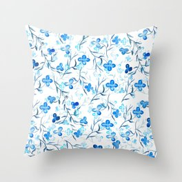 small blue flowers pattern Throw Pillow