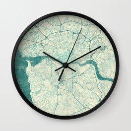 Porto Map Blue Vintage Wall Clock