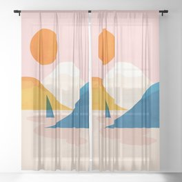 Abstraction_Lake_Sunset_Minimalism_002 Sheer Curtain