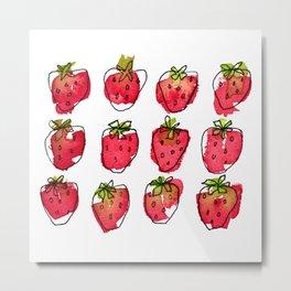 Juicy Watercolour Strawberries Metal Print