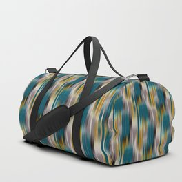abstract ikat in dark teal and olive Duffle Bag