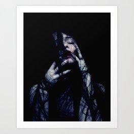 Tendrils - Emotive Self Portrait - long hair woman sensual Art Print