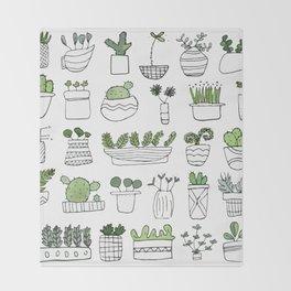 Spiky Succulents Throw Blanket