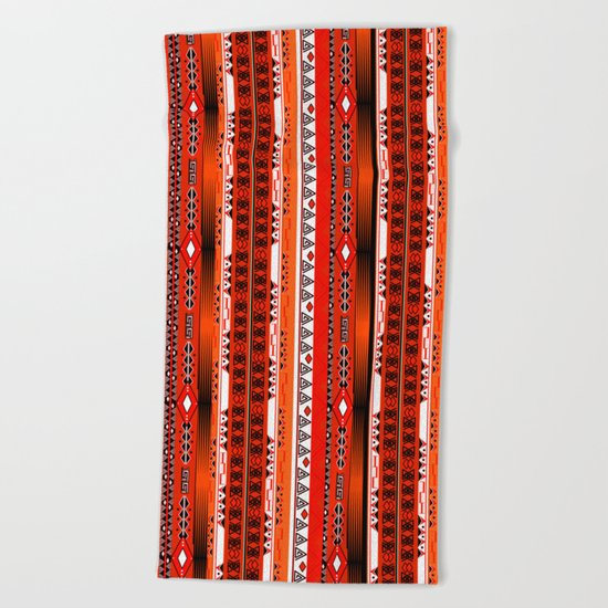 Ethnic stripes. Tribal pattern Indians. Beach Towel