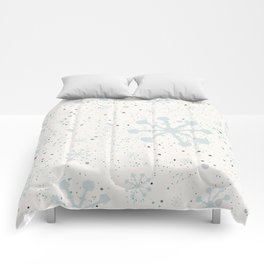 Cute Seamless Winter Pattern with subtle snowflakes Comforters