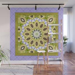 Olive lilac ornament, kaleidoscope, mandala, patchwork, olive Wall Mural