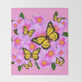 PINK ON PINK ROSES MONARCH BUTTERFLIES Throw Blanket