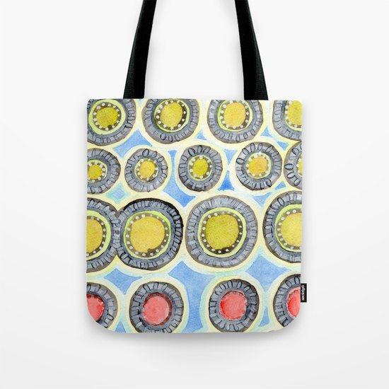 Yellow and Red Sunshine Pattern Tote Bag