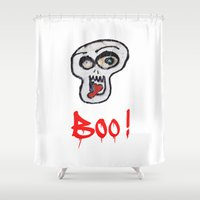 grafitti Shower Curtains featuring BOO! by LesImagesdeJon