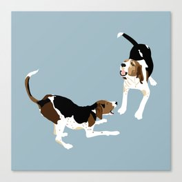 Coonhound Play Canvas Print