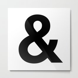 Ampersand Black and White Helvetica Typography Design Poster Home Decor Wall Art Scandinavian Decor Metal Print