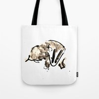 badger Tote Bags featuring Badger by Jen Moules