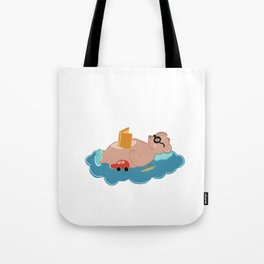 Cute bear reading book Tote Bag