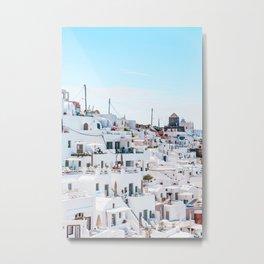 Santorini Greece Ligh Blue Sky Metal Print