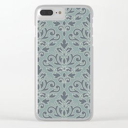 Scroll Damask (outline) Pattern Blue Cream Teal Clear iPhone Case