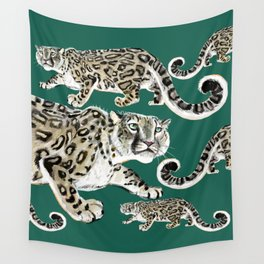 Snow leopard in green Wall Tapestry