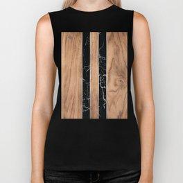 Wood Grain Stripes - Black Granite #175 Biker Tank