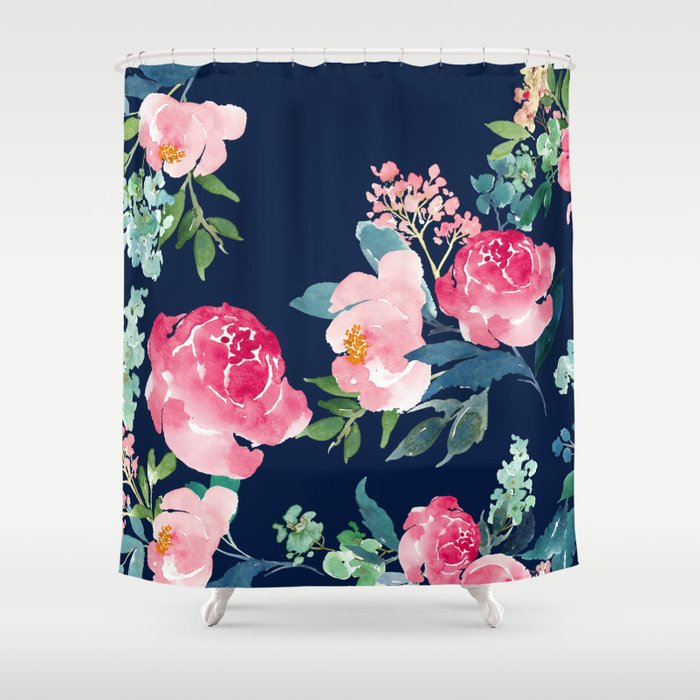 Navy and Pink Watercolor Peony Shower Curtain by ...