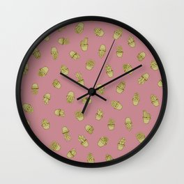 Pink+Mustard Succulents Wall Clock