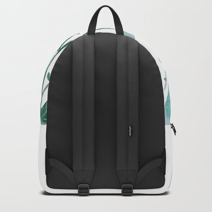 greeen water color leaves Backpack