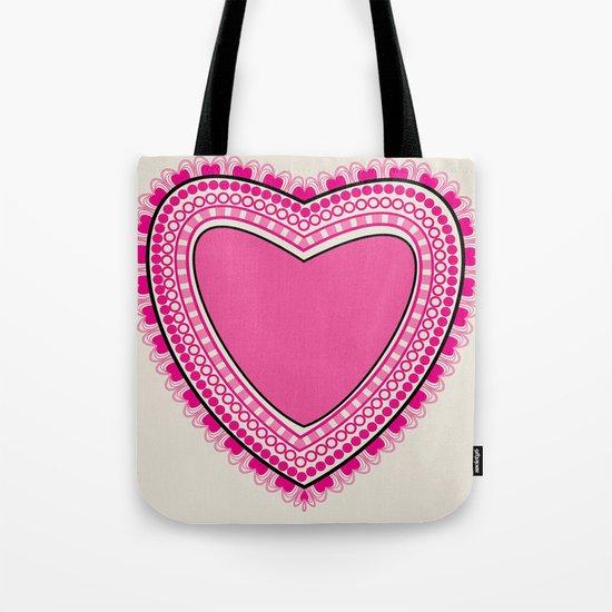 Doodle corazon rosa Tote Bag