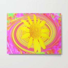 Yellow Sunflower on a Fuchsia Psychedelic Swirl Metal Print