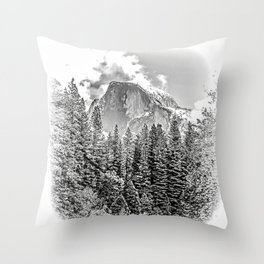 Wintry Portrait of Half Dome Throw Pillow
