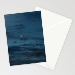 Morning Moonrise: Crescent in the Clouds Stationery Cards