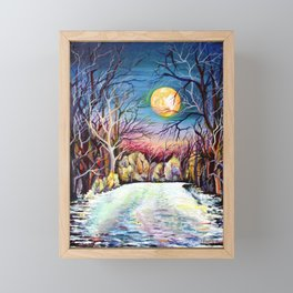 Sublime Watercolor Scenery with Sweden Scandinavian Full Moon Landscape Framed Mini Art Print