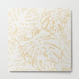 Abstract Neutral Monstera Metal Print