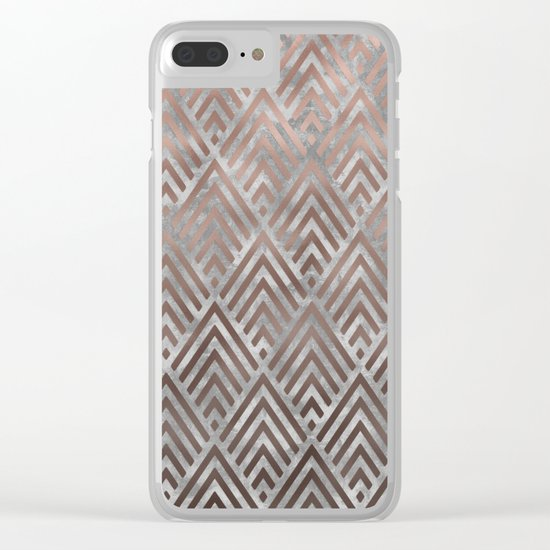 Rosegold foil triangles on grey grunge background Clear iPhone Case