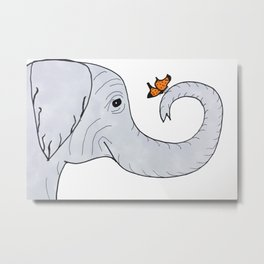 Elephant and Butterfly Metal Print