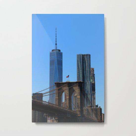 Brooklyn Bridge and World Trade Centre, New York, USA Metal Print