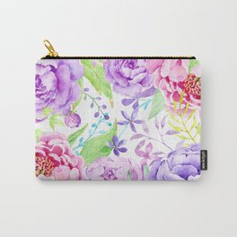 Watercolor Pink and Purple Peony Frame Carry-All Pouch