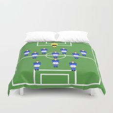 Football Soccer sports team in blue Duvet Cover
