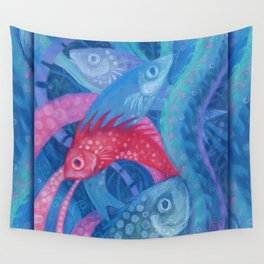 The Spawning, underwater art, pink & blue fish Wall Tapestry
