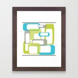 Mid-Century Modern Rectangle Design Blue Green and Gray Framed Art Print
