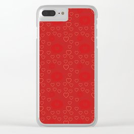 Bright ruby red fancy abstract love style pattern with fine golden hearts and bubbles Clear iPhone Case